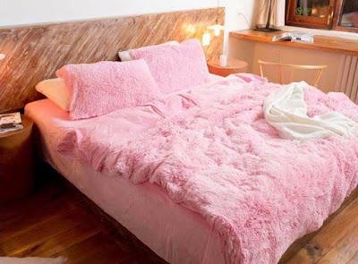 Bộ chăn ga nỉ nhung màu hồng