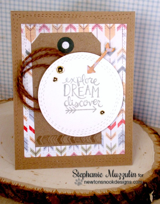 Inspirational arrow card by Stephanie Muzzulin | Adventure Awaits Stamp set by Newton's Nook Designs #newtonsnook