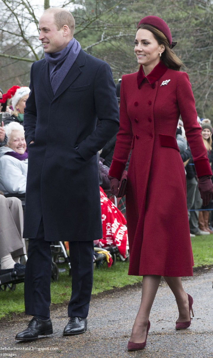 99406dad814 Duchess Kate  Kate s Berry Festive for Christmas Day Service at ...