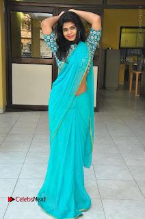 Telugu Actress Alekhya Stills in Green Saree at Swachh Hyderabad Cricket Press Meet  0106.JPG