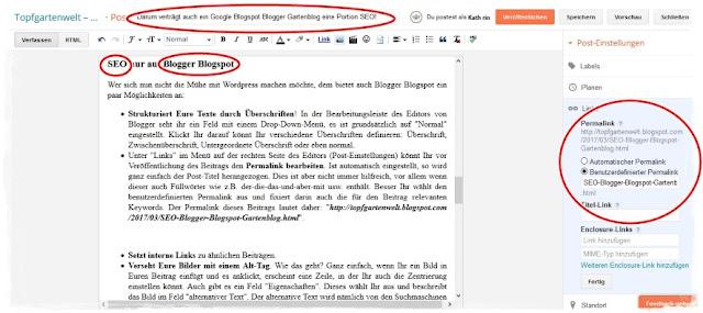 SEO Permalink bei Blogger Blogspot definieren
