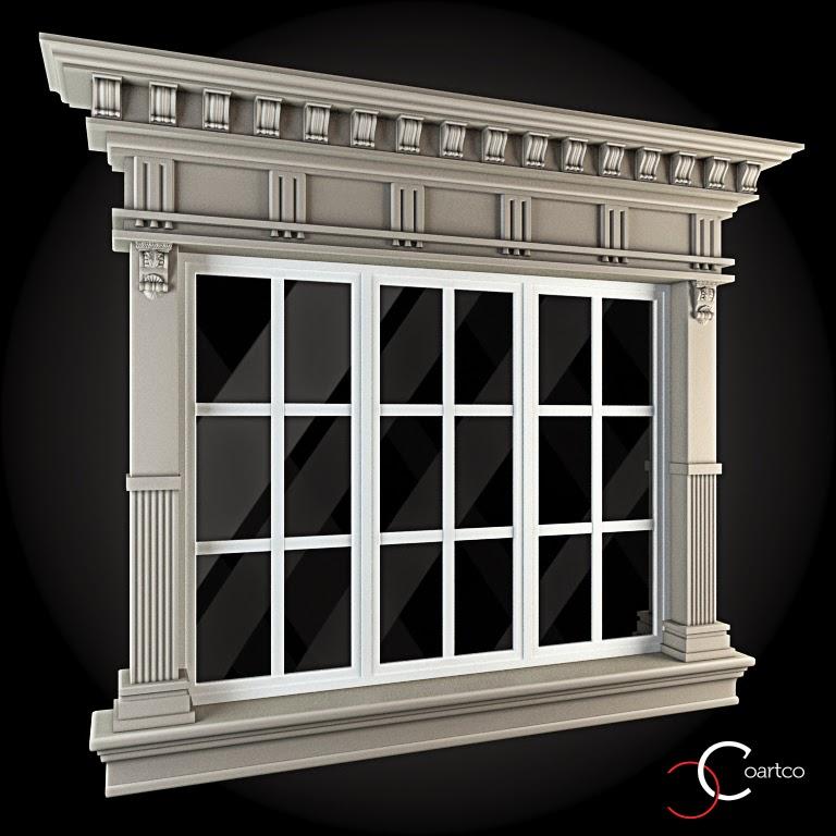 Ornamente Geamuri Exterior, fatade case cu profile decorative polistiren, profile fatada,  Model Cod: WIN-067