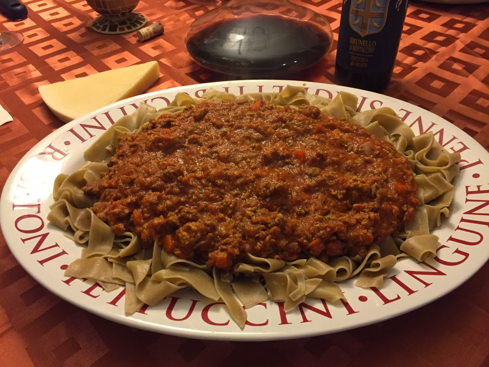 Pappardelle with bolognese and Brunello di Montalcino
