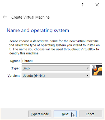 VirtualBox - Name and operating system