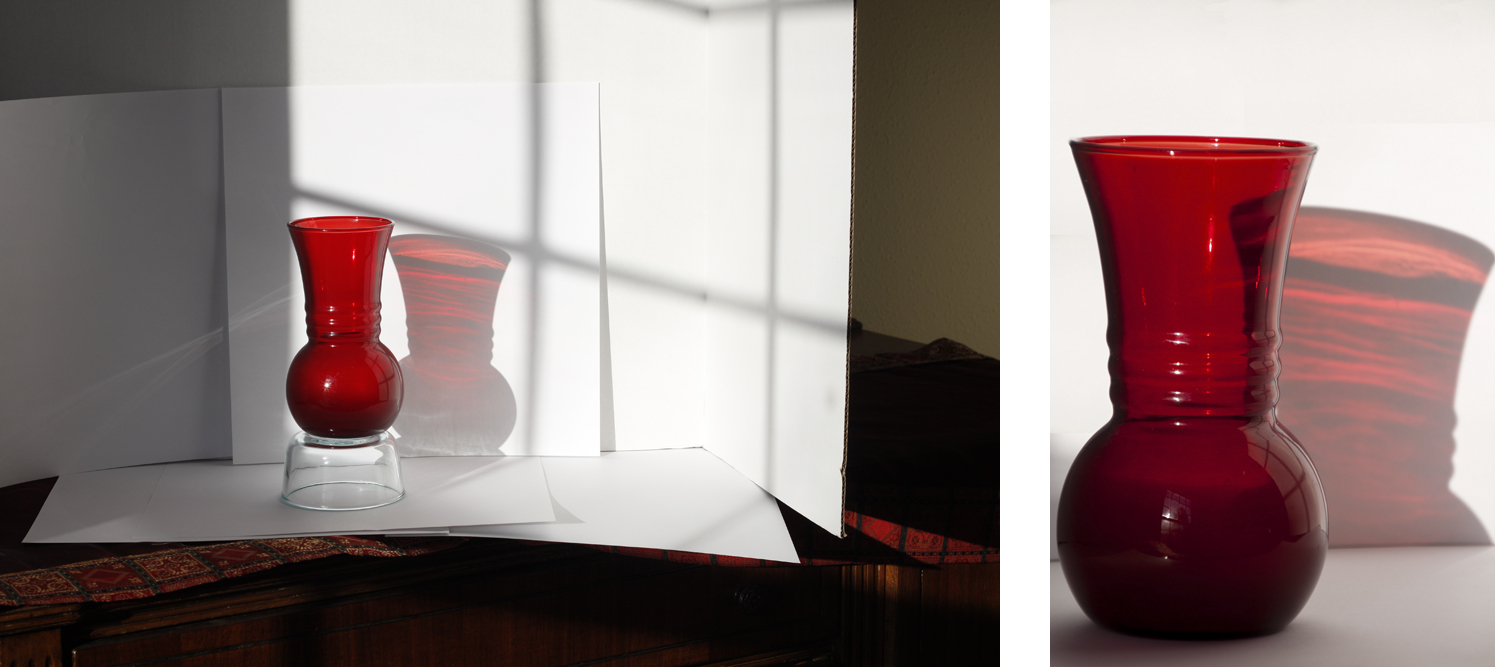Red Glass Vase Shadow Play
