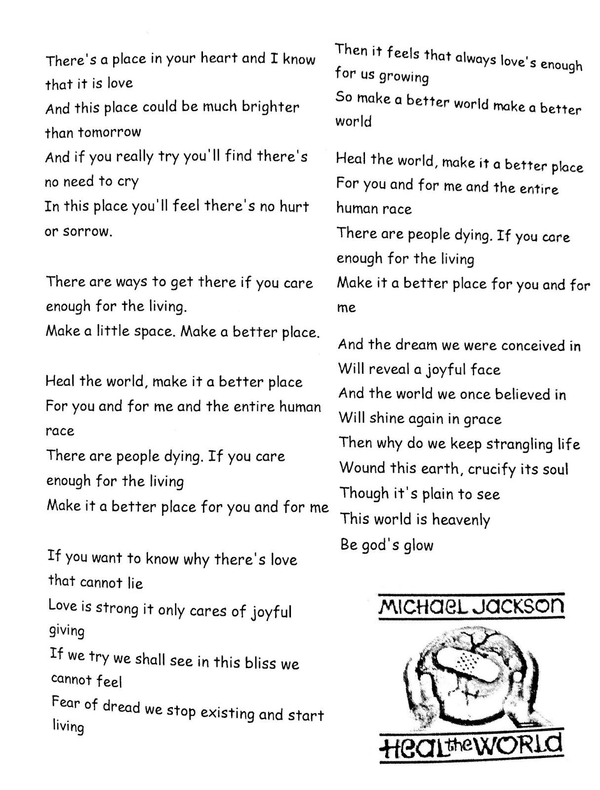 English Blog (5th grade): Song: Heal the world - Michael Jackson