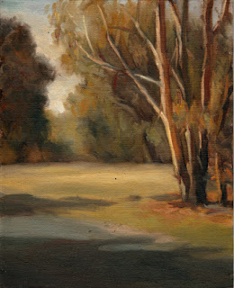 Oil painting of several eucalypts beside an asphalt path.