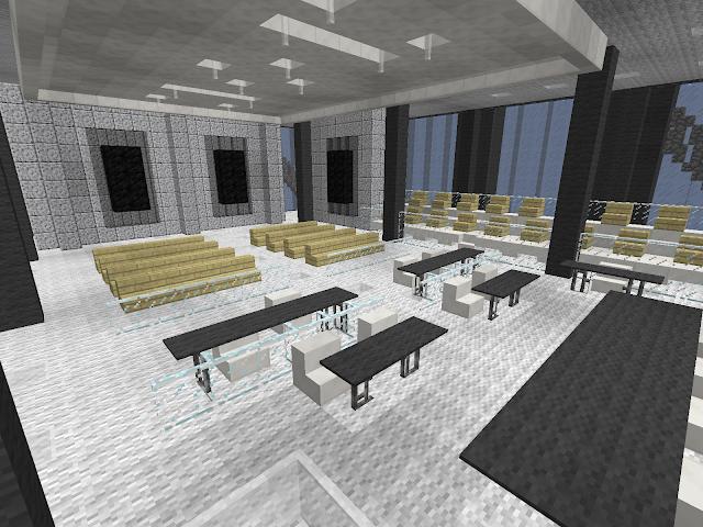 Plaatje in het spel Minecraft van het interieur van een kantoorgebouw met stoelen, tafels, lampen etc.