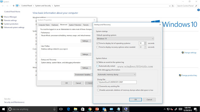 Uncheck Automatically system Restart from Startup and Recovery