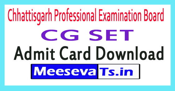Chhattisgarh Professional Examination Board CG SET Admit Card Download
