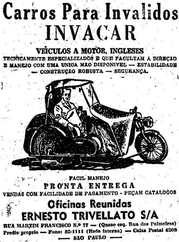 Carros para pessoas com deficiência apresentado nos anos 50. Campanha publicitária da Invacar