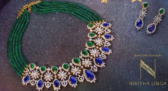 Emerald Beads Set by Nikitha Linga
