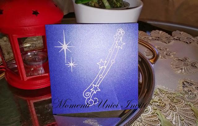 notte Partecipazione Notte Stellata in blu perlescenteColore Blu Tema Stelle e Costellazioni