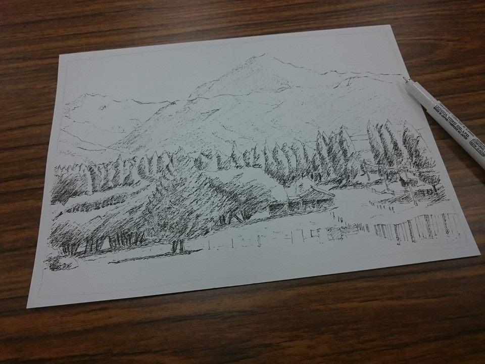 小花先生: [作品]山脈風景@水性色鉛筆