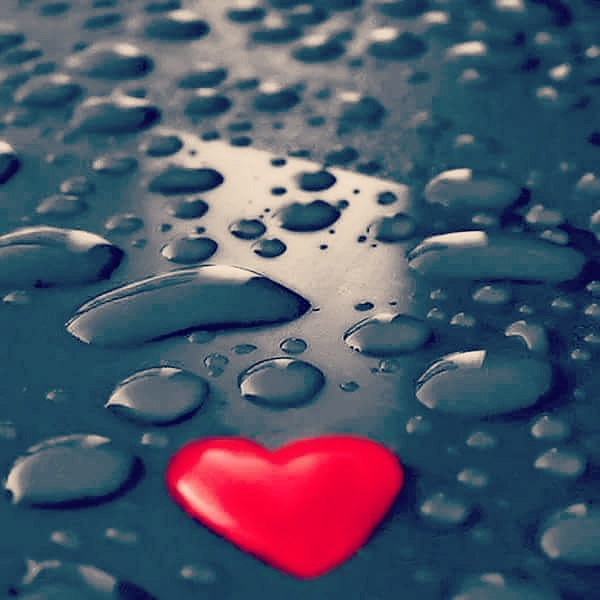 Heart With Drops Of Water Lovely Wallpapers