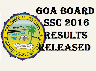 goa board ssc 10th results 2016