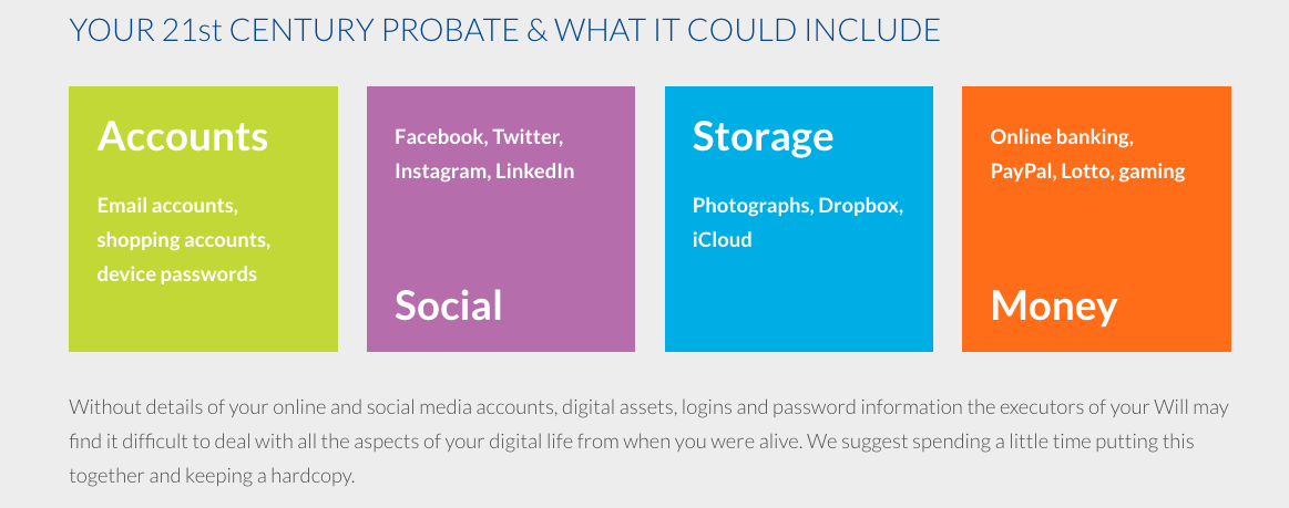 What happens to your Facebook page and other Social Media when you die? How I'm Keeping my Digital Assets Safe with Tilly Bailey & Irvine - 21st century probate