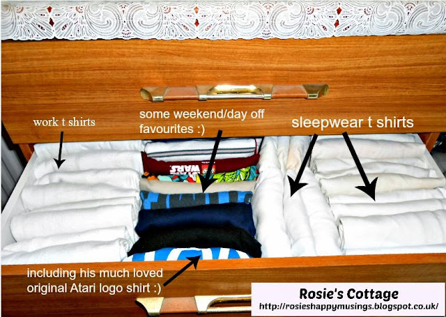 A look at my Husbands t shirt drawer -  a step by step on how to almost double the space in a drawer.