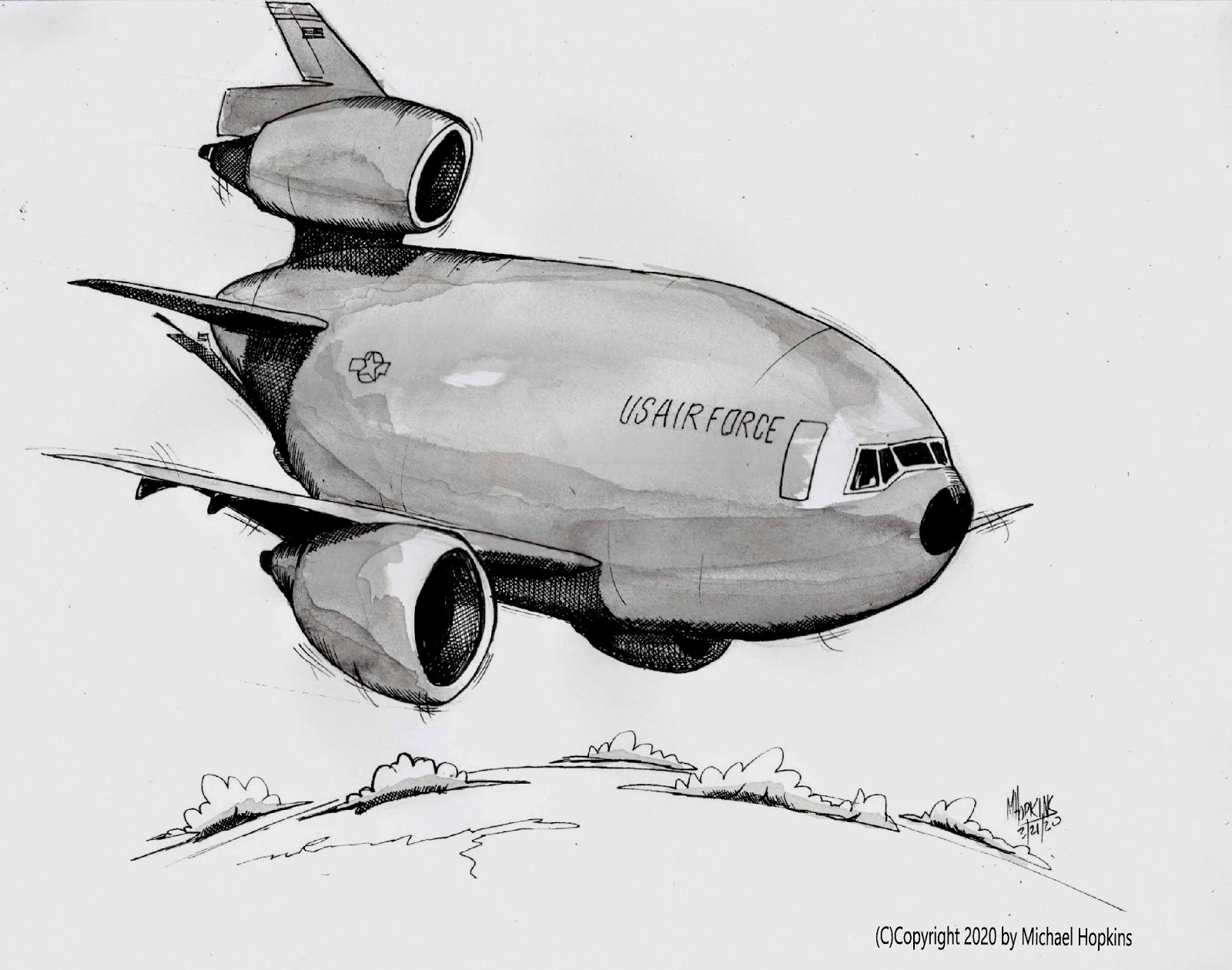 USAF KC-10 - Original Pen & Ink Aviation Caricature by Michael Hopkins on Ebay!