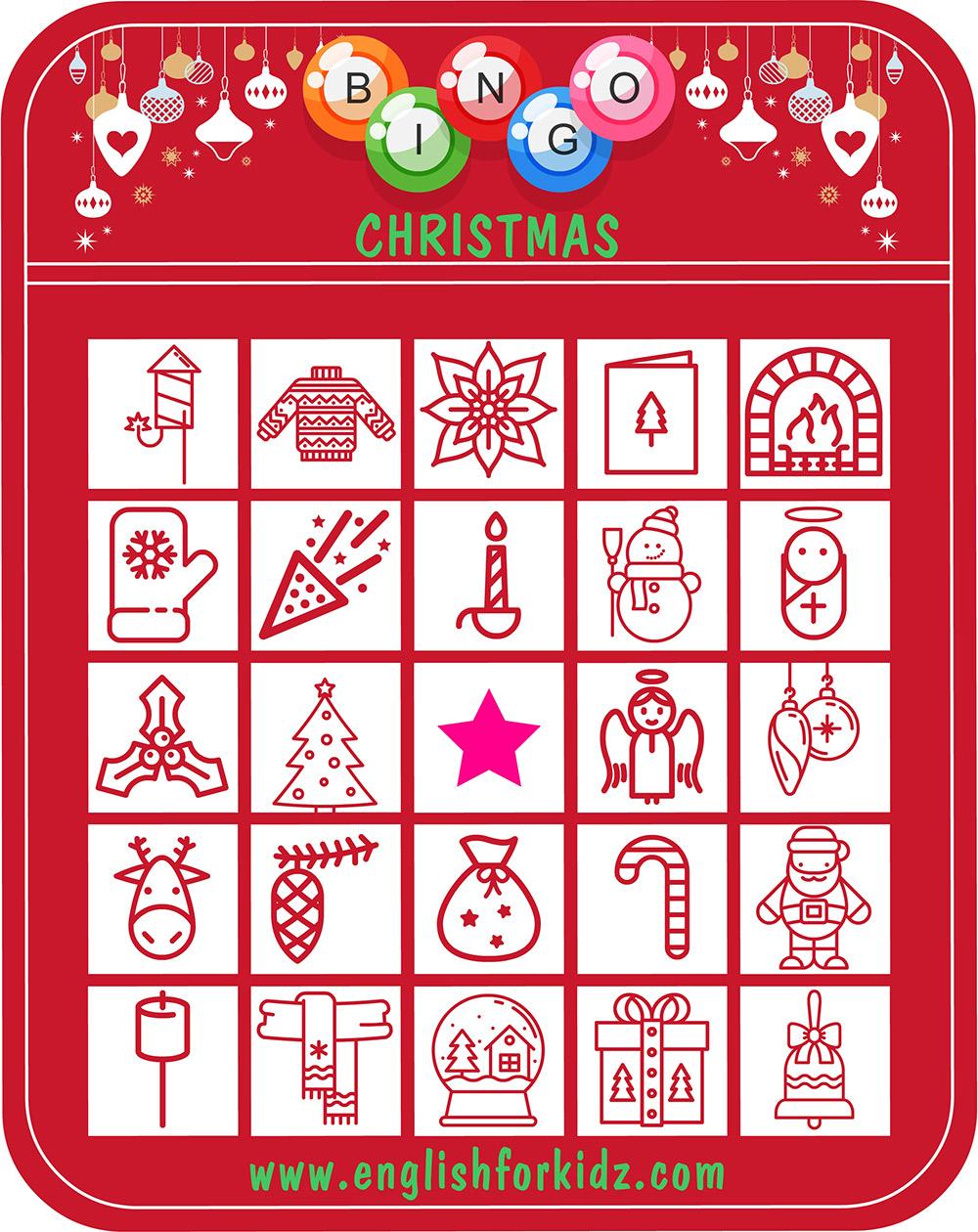 picture about Free Printable Christmas Bingo named ESL Xmas Bingo Match