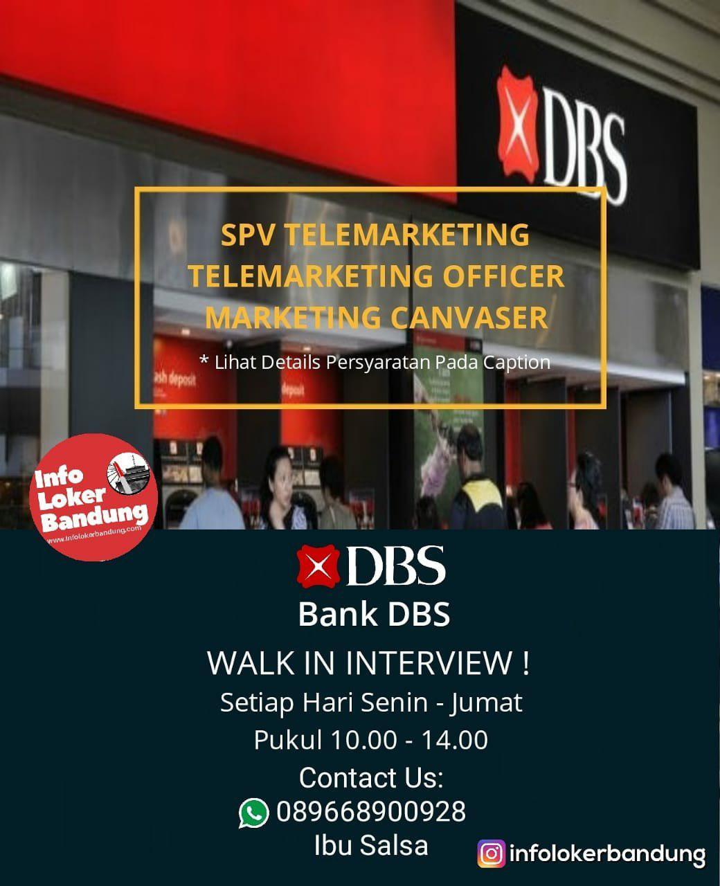 Lowongan Kerja Bank DBS Bandung Walk In Interview Februari 2019