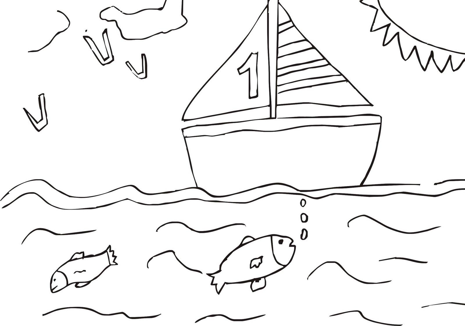 Desenhos Para Colorir Desenho Para Pintar De Barco No Mar