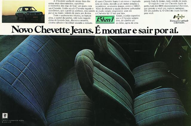 Propaganda de lançamento do novo modelo de Chevette apresentado nos anos 70: bancos revestidos com jeans.