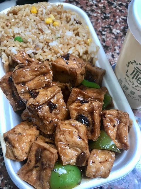 Blissful Station Vegan Wisdom, Box Hill, black bean tofu with fried rice