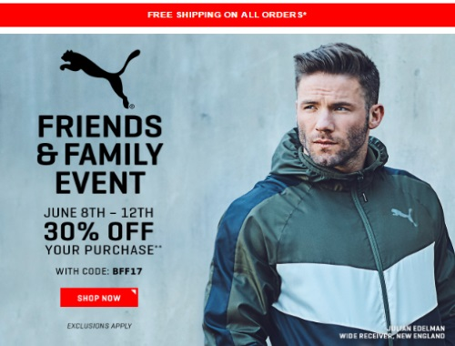 PUMA Friends & Family Event 30% Off Promo Code