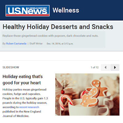 photo withh US News and World Report Wellness logo with navy blue background. Header text: healthy holiday desserts and snacks with text about holiday eating that is good for your heart next to a photo of gingerbread cookies and candy canes