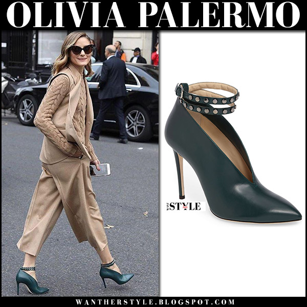 Olivia Palermo in camel sweater, camel pants and green ankle wrap booties jimmy choo lark at Paris Fashion Week  fall fashion trend september 2017