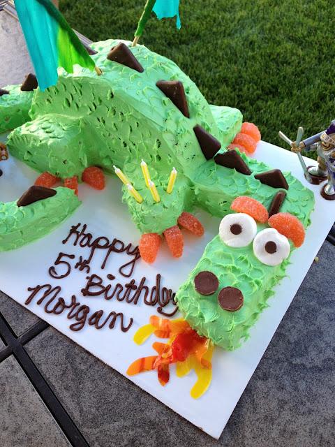 close up of the dragon birthday cake
