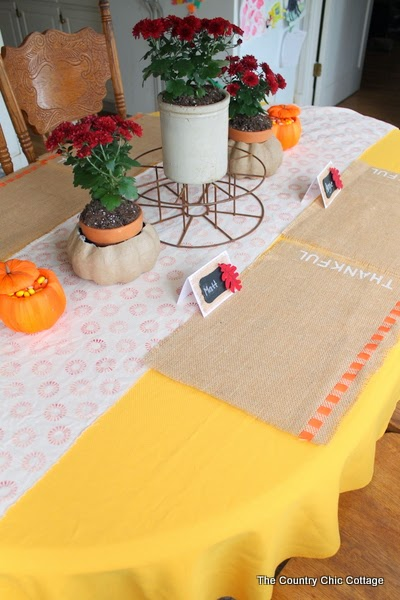 """DIY Burlap Thankful Place Mats -- the perfect place mats to make for your Thanksgiving feast.  Super simple to make and you can use the word """"thankful"""" or the word of your choice."""