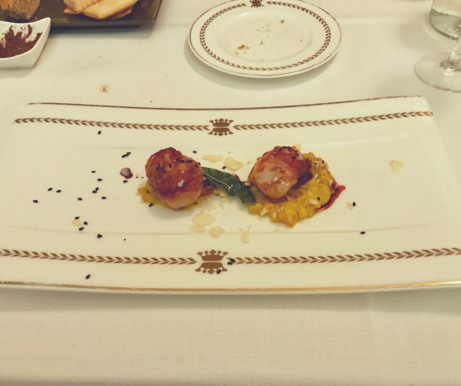 scallops and eggplant at Alla Corone, Venice