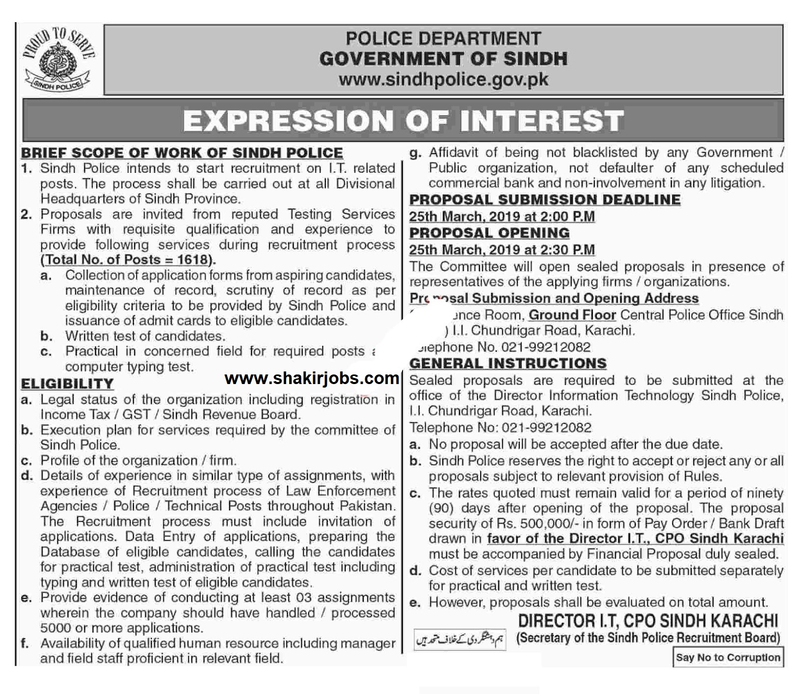 1618+Vacancy in Sindh Police Jobs In Pakistan 2019