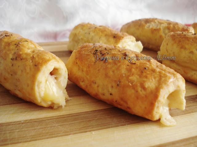 Рулца с шунка и топено сирене