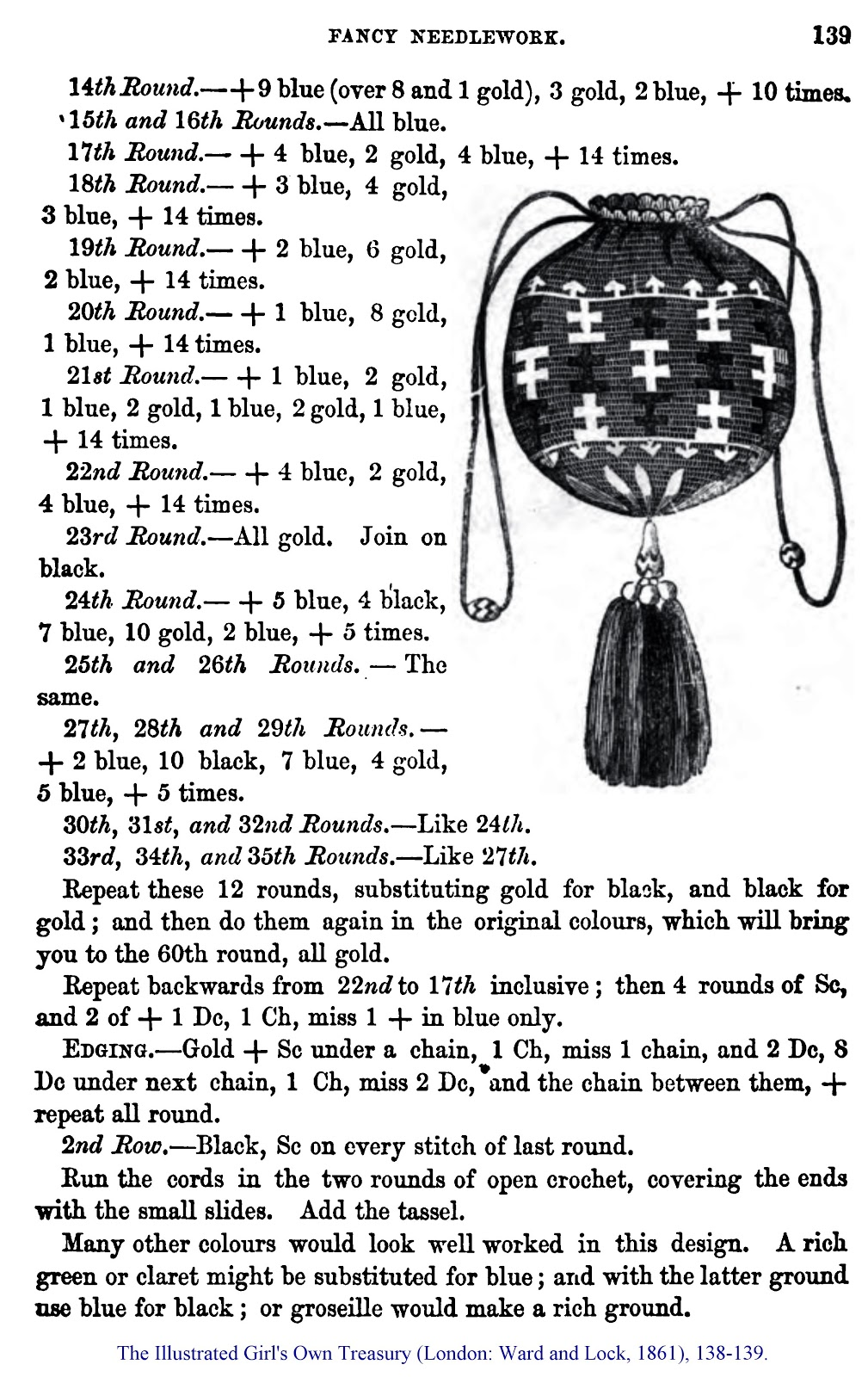 World Turn\'d Upside Down: Civil War Era Crochet Purse Pattern