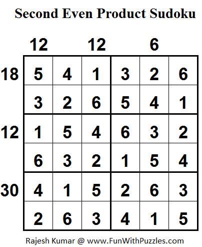 Second Even Product Sudoku (Daily Sudoku League #107) Solution