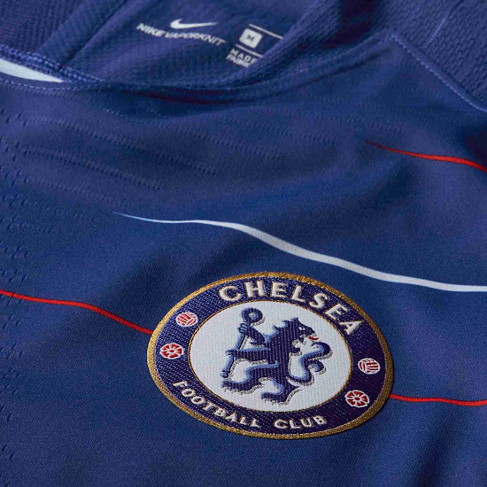 Although Chelsea s 2018-2019 kit is still predominantly  Rush Blue  with  white branding 22744506b