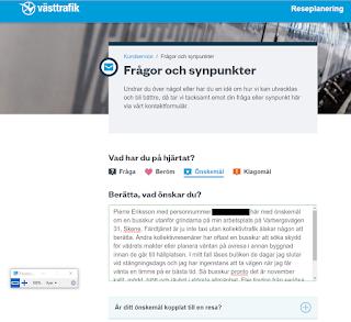 Skärmdump av västtrafiks kontaktformulär där jag skickade in önskan om en busskur