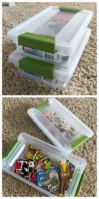 Use small stackable containers to keep classroom magnets separated and stored neatly
