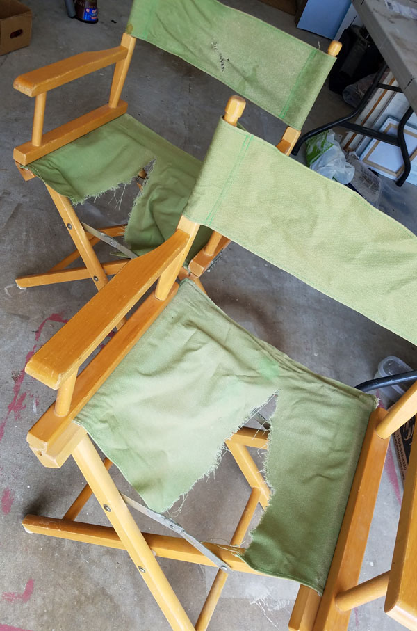 Directors Chairs With Ripped Canvases.