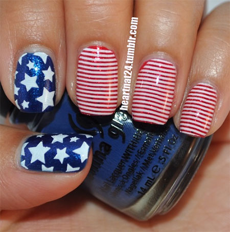 4th of July Nail Art Design 2017