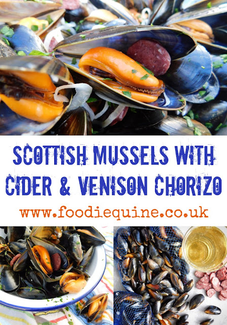 www.foodiequine.co.uk Scottish Mussels combine with Cider from Angus and Wild Venison Chorizo from the Highlands to create a mouthwatering dish of Moules in celebration of Seafood Week. Quick and easy to cook and surprisingly cheap there's no need to be scared of preparing, cooking and eating Mussels at home.