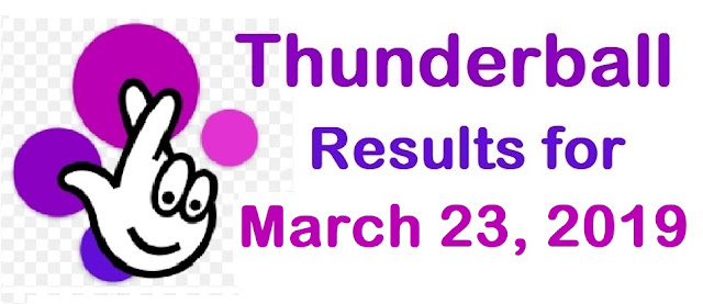 Thunderball results for Saturday, 23 March 2019