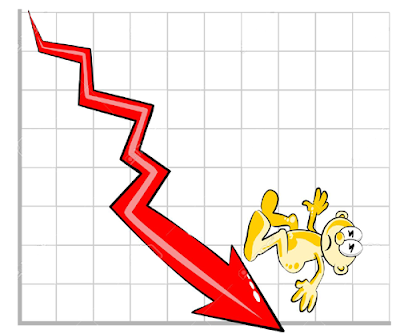 Down Graph. Graf jatuh menjunam. Cartoon graph. Graf Kartun turun naik