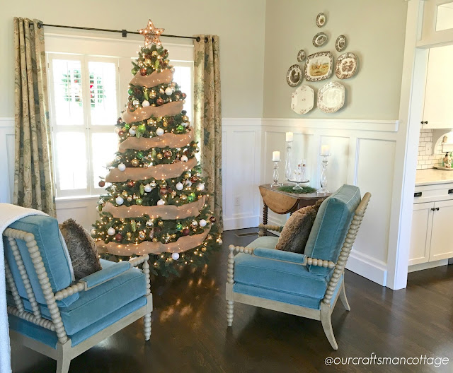 Craftsman cottage, modern cottage style, Craftsman, wood floors, Christmas, cottage Christmas, spool chairs, wood floors, DIY, cottage style, home tour, featured home, Craftsman style home tour