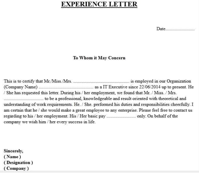 Experience Letter Format - Official letters applications and IT