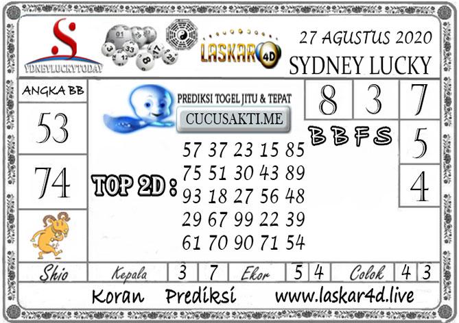 Prediksi Sydney Lucky Today LASKAR4D 27 AGUSTUS 2020
