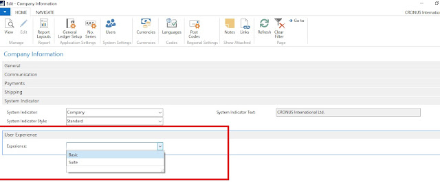 Dynamics NAV 2017 Changes on Company Page